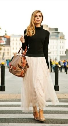 I like the turtleneck and tule skirt.