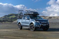 At the beach with 2017 Ford Ranger XLT in Blue Hard Tonneau Cover, Nissan Navara, Toyota Hilux, Ford Ranger, Tango, Mtb, Beach, Blue, Autos