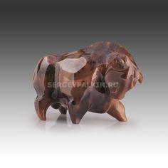 """Gemstone carving art sculpture masterwork """"Bull"""" (moss agate) Height 80 mm"""