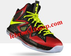 Nike LeBron X PS Elite Sport Red Metallic Gold Yellow Black