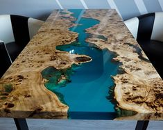 Turquoise river table with epoxy inlay Mappa Burl Epoxy Resin Table, Diy Tops, Live Edge Wood, Copper Color, Wood Species, Amazing, Dining Table, Wood Table, Dining Room