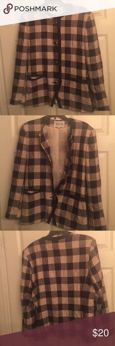 Plaid blazer Tan and Navy blazer with button. Classy for work! Jackets & Coats Blazers
