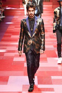 Avan Jogia walks the runway at the Dolce & Gabbana show during Milan Men's Fashion Week Spring/Summer 2018 on June 17, 2017 in Milan, Italy.