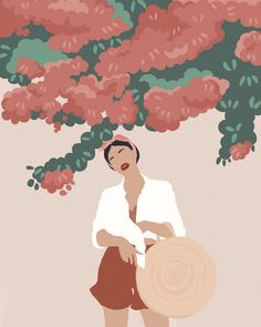 Santorini Afternoon Illustration Museum-quality posters made on thick and durable matte paper. Illustration Art Drawing, Woman Illustration, Portrait Illustration, Graphic Illustration, Illustrations, Art Drawings, Minimalist Art, Aesthetic Art, Cartoon Art
