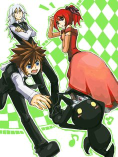I love how Kairi and Riku are unfazed but Sora's like MUST IMPRESS KAIRI MUST SAVE KAIRI