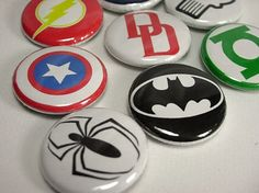 8 Super Hero Icons Pinback Buttons by PapaSupply on Etsy, $3.20