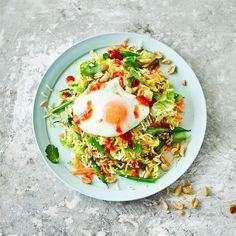 Save on the washing up with this speedy supper for one, with wholesome ingredients like Chinese cabbage and brown rice, finished with a fried egg Low Carb Recipes, Healthy Recipes, Healthy Foods, Low Carb Lunch, Prosciutto, Light Recipes, Healthy Baking, Tasty Dishes, I Foods
