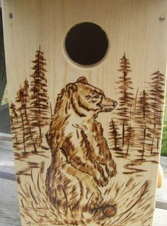 Pine Birdhouse with Woodburned Bear by WoodburnedBirdhouse on Etsy, $25.00