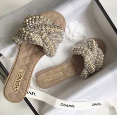 41 Slides Shoes You Should Own - Chanel Boots - Trending Chanel Boots for sales. Chanel Pearls, Chanel Shoes, Chanel Clothing, Cute Sandals, Shoes Sandals, Pearl Sandals, Pearl Shoes, Sandals 2018, Slide Sandals