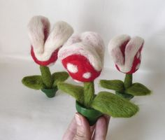 Needle felted piranha plant from mario
