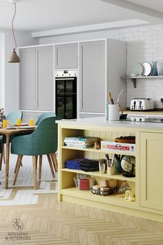 We love complementary colours like this pale yellow and dust grey combination. Dream Kitchen, Kitchen Cabinets, Kitchen Trends, Kitchen Decor, New Homes, Home Decor, Traditional Kitchen, Interior Design, Kitchen Design