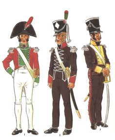 """Ufficiali di un btg. fanteria di linea dei """"Voluntarios Distinguido de Cádiz"""", in uniforme di servizio, gala e da campagna nel 1810"""