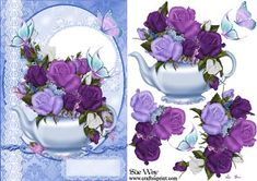 Tea Pot of Roses Card Front and Decoupage on Craftsuprint designed by Sue Way - A beautiful card front with lace