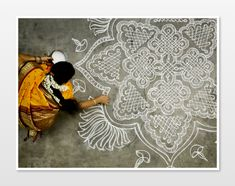 Photograph of Indian woman in Yellow sari decorating. Yellow wall art, ethnic art, India wall art, 16x20 fine art print