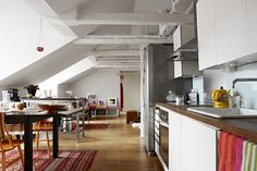 Swedish attic apartment displaying charming details