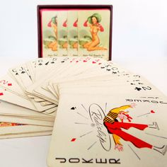 1950s Pinup Playing Cards - Gil Elvgreen Pin Up Artist - Brown & Bigelow Chicago Advertising Gift Set in Leather Case - Nudes by Vetera on Etsy