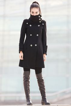 Black Coat Fitted Military Jacket Winter 100 Wool by YL1dress, $229.99