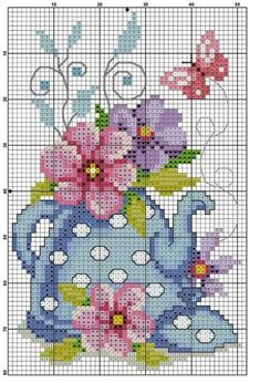 Cross stitch design with Tea Kettle and Flowers. You could choose your own colors or use similar colors as shown. Cross Stitch Charts, Cross Stitch Designs, Cross Stitch Patterns, Cross Stitching, Cross Stitch Embroidery, Hand Embroidery, Beading Patterns, Embroidery Patterns, Cross Stitch Kitchen