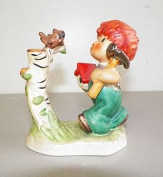 "VINTAGE GOEBEL RED HEAD BOY FIGURINE WITH BIRDHOUSE AND HAMMER 4"" W GERMANY"