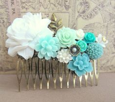 Turquoise Wedding Hair Comb Teal White Mint Green Bridal Flower Comb Romantic Floral Head Piece Bridesmaid Gift Aqua Hair Pin For Brides