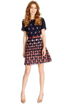 Bird Rose Border Skater Dress | Multi | Oasis Stores