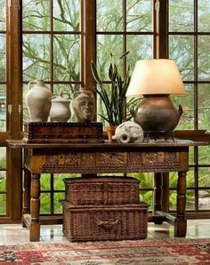 British Colonial desk with wicker boxes. A timeless classic. British Colonial desk with wicker boxes. A timeless classic. West Indies Decor, West Indies Style, British Colonial Decor, British Decor, British Style, Asian Home Decor, Interior Decorating, Interior Design, Colonial Decorating