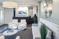 #Reception Desk and Waiting Room for #Chiropractor with custom #lighting