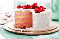 With layers of pink mousse in a coconutty marshmallow shell, this pretty cake pays homage to an Aussie classic.