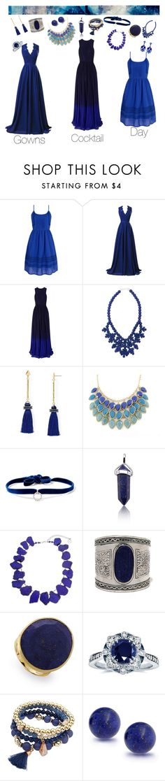 """Blue sometimes is our Black"" by universe28 ❤ liked on Polyvore featuring Yumi, R&J, Matthew Williamson, Ek Thongprasert, Aqua, DANNIJO, Erica Lyons, LULUS, Marco Bicego and Kobelli"