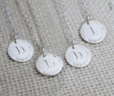 Set of 4 Vintage Style Bridesmaid Initial Necklaces, Four Personalized Bridesmaid Necklaces, Bridesmaid Necklace Gift  $98.60 set