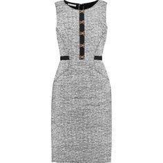 Oscar de la Renta Wool-blend tweed dress ($1,050) ❤ liked on Polyvore featuring dresses, black, fitted dresses, loose fitted dresses, cut loose dress, buckle dresses and oscar de la renta dresses