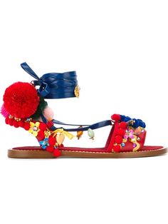Shop Dolce & Gabbana pom-pom embellished sandals in Julian Fashion from the world's best independent boutiques at farfetch.com. Shop 400 boutiques at one address.