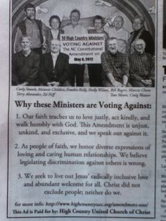 """""""Why these ministers are voting against anti-gay legislation."""" Christian, faithful, and pro-gay."""