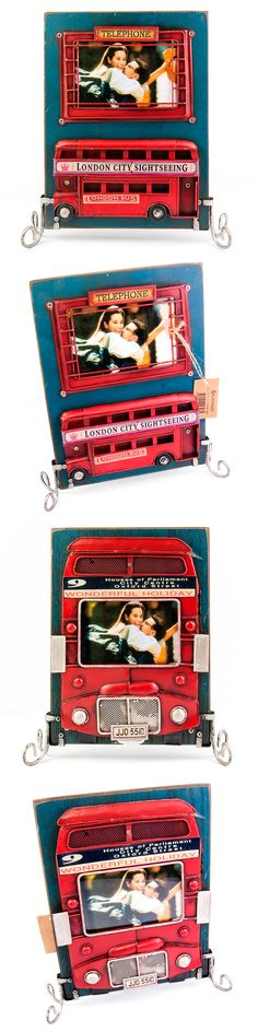 1510F-385 Винтажная фоторамка Лондонский автобус, двухстороняя Формат фотографий 9х12 см. Размер 25х22.5х6.5 см. Gifts, Vintage, Presents, Favors, Vintage Comics, Gift