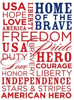 USA Word Block to use on your FB page for 4th of July, Veterans Day, Memorial Day or any day you feel patriotic.