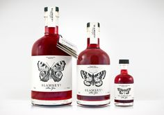 Packaging with illustrative insect detail designed by B and B Studio for Slamseys fruit gins.