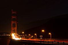 City lights. San Fransisco's famous Golden Gate bridge.