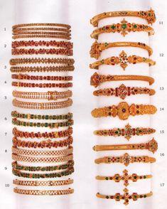 Gold Bangles Design, Gold Jewellery Design, Gold Jewelry, Beaded Jewelry, Jewellery Uk, Indian Jewelry Earrings, Jewelry Design Earrings, Vanki Designs Jewellery, Ruby Bangles