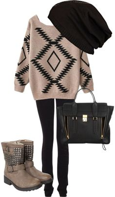 Black and gold tones with Aztec print. It is sweater weather after all. Oh, and those stud boots. #cute