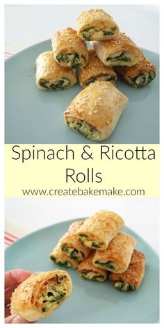 These Spinach and Ricotta Rolls make the perfect easy snack or dinner and best of all they are freezer friendly. Both Conventional and Thermomix instructions included. snacks for dinner Easy Spinach and Ricotta Rolls Savory Snacks, Easy Snacks, Savory Foods, Homemade Sausage Rolls, Homemade Breads, Vegetarian Recipes, Cooking Recipes, Healthy Cooking, Vegetarian Finger Food