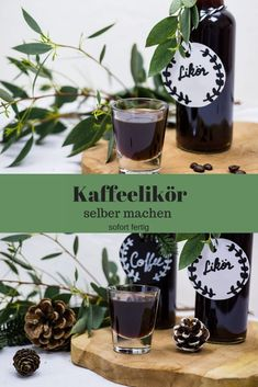 Kaffeelikör selber machen – so einfach geht´s Make coffee liqueur yourself – it's that easy Coffee Liqueur Recipe, Make Your Own Coffee, Drink Tags, Presents For Her, Holiday Break, Foods With Gluten, Coffee Recipes, Cocktail Recipes, How To Memorize Things