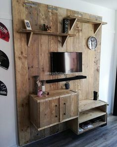 Now is the time to craft a multipurpose TV stand that not only accommodates your screen but also allows place for your decor pieces with few shelves along with a place to hand your wall clock. The cabinets and the drawers make it more purposeful to meet most of your household requirements.