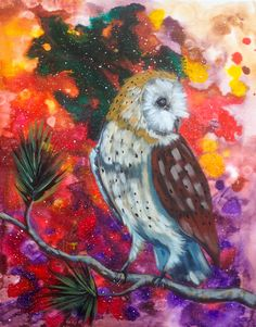 Cosmic Barn owl from the Easy to follow youtube tutorial by The Art Sherpa