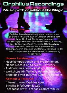 Unternehmenspräsentation zur Kundengewinnung und Partner mit Mobiler Disco, Musikkompositionen und Produktion sowie andere Services.