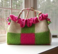 Spring in with Bright and Ruffles Purse. Like the braided handles.