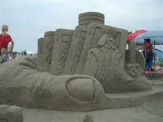 Sand card sculpture