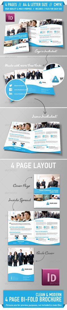 Clean Modern Bifold Brochure - Vol. 1 - GraphicRiver Item for Sale