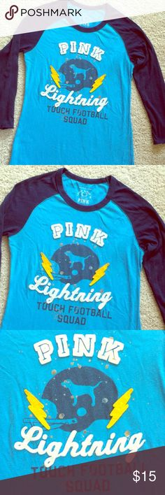 ✨PINK VS Baseball Shirt w/ Embossed Lettering✨💕 VS PINK Cute Baseball Shirt in two-tone Blues. Has Raised Embossed Lettering and Lightning Bolts⚡️⚡️Really Cute Top!💕 PINK Victoria's Secret Tops