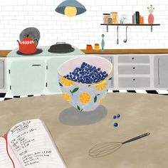 Blueberries for Scotch Pancakes illustration by Katy Pillinger Designs ©️2018 www.katypillinger.com #foodillustration