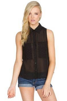 The Sugarlips Dark Eyelet Sleeveless Top is a beautiful sleeveless blouse that features delicate eyelet pockets. Pair it with your favorite denim cutoffs and ankle books to complete the look. #MyLuluCloset #Sugarlips #Storenvy #Sales #Tops